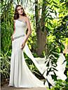 LAN TING BRIDE Sheath / Column Wedding Dress - Chic & Modern Elegant & Luxurious Simply Sublime Sweep / Brush Train One Shoulder Chiffon