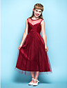Tea-length Tulle Junior Bridesmaid Dress A-line Scoop Empire with Criss Cross