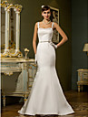 Lan Ting Trumpet/Mermaid Plus Sizes Wedding Dress - Ivory Sweep/Brush Train Straps Satin