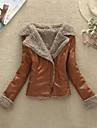 Femeii Fleece Fermoare Collar Patchwork Caldura Slim piele PU Plus Size PALTON SCURT