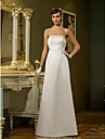 Lanting sposa guaina / colonna petite / taglie abito da sposa-pavimento-lunghezza senza spalline in raso