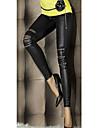 Women\'s Faux Leather Zipper Legging(Zipper Color On Random)