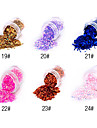 1PCS Hexagonal Glitter Tabletter Nail Art Dekorationer NO.19-24 (blandade färger)