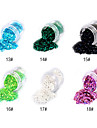 1PCS Hexagonal Glitter Tabletter Nail Art Dekorationer NO.13-18 (blandade färger)