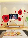 1st färgglada romantiska röd ros vägg klistermärke