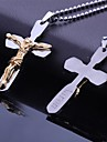 Personlig gåva rostfritt stål Jesus Biblar Cross Formad Graverad hängande halsband med 60cm Kedja