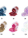 1PCS Hexagonal Glitter Tabletter Nail Art Dekorationer NO.7-12 (blandade färger)