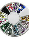 12-Color Mixed Style Nail Art Glitter Akryl Rhinestone dekorationer