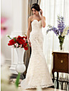Lan Ting Trumpet/Mermaid Maternity Wedding Dress - Ivory Sweep/Brush Train Sweetheart Satin/Lace