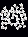 20PCS 3D White Resin Rhinestone Bowknot Nail Decorations
