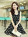 Femei Polka Dots Pleated Chiffon Dress