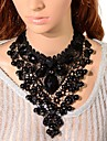 Elonbo Black Gem And Crystal Style Vintage Gothic Lolita Collar Choker Pendant Necklace Jewelry