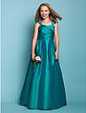 Floor-length Taffeta Junior Bridesmaid Dress - Jade A-line / Princess Straps / Square