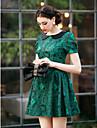 TS Vintage Pan Collar Jacquard Dress