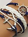 Pentru femei Bărbați Pentru cupluri Bratari Wrap Bratari din piele Design Basic Personalizat La modă Piele  Aliaj Ancoră Infinit Albastru