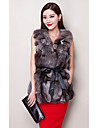 Fur Vest With Sleeveless Collarless Fox Fur Party/Casual Vest