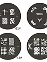 1 Piece M Series Rounded Abstract Design Nail Art Stamp Stamping Image Template Plate NO.61-64(Assorted Pattern)