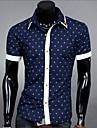 För män Splicing Color Polka Dots Casual kortärmad skjorta