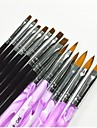 13 st Black & Purple Color Målning Teckning Nail Art Pen & Borstar Set för manikyr UV Gel & False tips Akryl