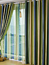 Modern Two Panels Stripe Green  Red Living Room Polyester Panel Curtains Drapes