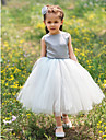 Ball Gown Tea-length Flower Girl Dress - Satin / Tulle Sleeveless Bateau with Bow(s)