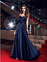 Formal Evening Dress - Dark Navy Plus Sizes Sheath/Column Sweetheart Sweep/Brush Train Satin