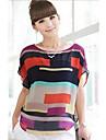T-shirt das mulheres de manga curta Moda Chiffon Stripes