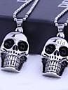 Personlig gåva Skull Former rostfritt stål smycken Graverad hängande halsband med 60cm Kedja