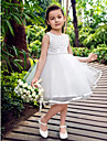 Ball Gown / Princess Knee-length Flower Girl Dress - Satin / Tulle Sleeveless Bateau with