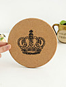Crown Pattern Vintage Round Wooden Coaster