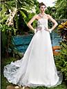 A-line/Princess Wedding Dress - Ivory Court Train Strapless Organza
