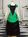 One-piece/Klänningar Klassisk/Traditionell Lolita Victoriansk Cosplay Lolita Klänning Svart / Grön Färgblock Kort ärm Lång längd Klänning