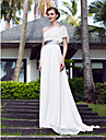 A-line Plus Sizes Wedding Dress - Ivory Sweep/Brush Train One Shoulder Georgette/Stretch Satin