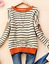 Dame Round Collar Fashion Stripe langermet genser