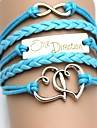 Mode og Vintage Double Heart med Letter One Direction PU Håndlavede vævet armbånd