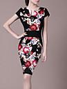 Floral Print de Lifver femmes courtes Robe sans manches