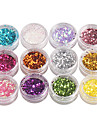 12-couleur Hexagone paillettes Nail Art Decorations