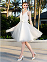 Lan Ting A-line/Princess Plus Sizes Wedding Dress - Ivory Knee-length V-neck Satin