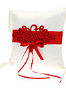 Wedding Ring Pillow In Blue Satin With Feather
