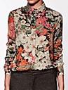 Blommig Långärmad Skjorta Kvinnors Tröjkrage Chiffong