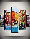 Ручная роспись маслом Венеция Вода Лодки Пейзажи с растянутыми кадр Набор 5
