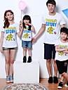 Family\'s Fashion Joker Printing Parent Child Round Collar Short Sleeve T Shirt