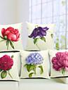 5 pcs Coton/Lin Housse de coussin,Fleur Rustique
