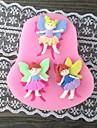tre flicka med ving bakning fondant tårta mögel, l7.4cm * w6.7m * h1cm