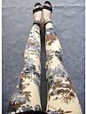 Women\s Fashion Khaki Flower Pattern Leggings