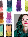 20 tum lång vågig syntetiskt clip in hårförlängningar med 5 clips - 8 färger tillgängliga