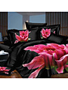 Shuian® Duvet Cover Set,4 Piece Suit Comfort Simple Modern Ventilation Printed 3D Flower Pattern Full