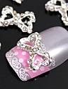 10st 3d ihåliga hjärta fluga diy legering tillbehör för fingertopparna nail art dekoration
