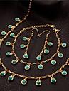 U7 bleu turquoise charmes de pierre bracelet collier tour de cou mis plaque or 18 carats 50cm
