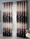 Deux Panneaux Rustique Floral / Botanique Noir Chambre a coucher Polyester Rideaux occultants rideaux